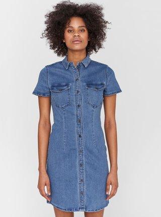 Modré džínové košilové šaty Noisy May Joy