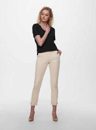 Krémové zkrácené kalhoty Jacqueline de Yong Dakota
