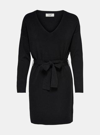 Černé svetrové šaty se zavazováním Jacqueline de Yong Dancy