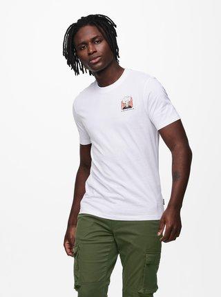 Bílé tričko s potiskem ONLY & SONS Mikkel