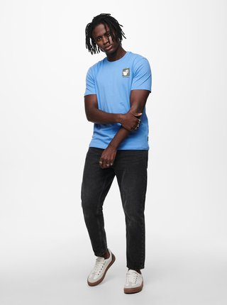 Modré tričko s potiskem ONLY & SONS Mikkel