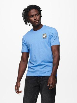 Modré tričko s potlačou ONLY & SONS Mikkel
