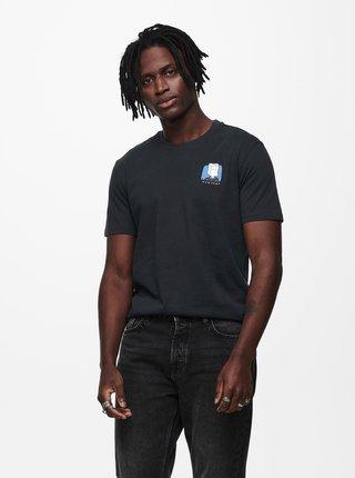 Tmavomodré tričko s potlačou ONLY & SONS Mikkel