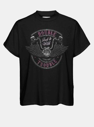Černé volné tričko s potiskem Noisy May Hailey