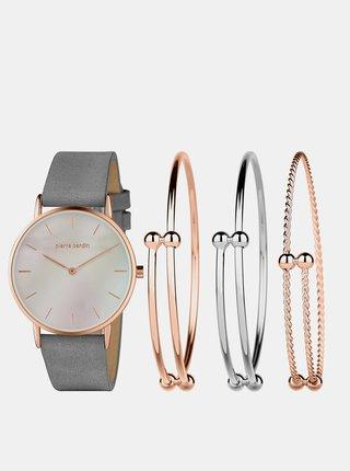 Sada dámskych hodiniek s koženým remienkom a troch náramkov v striebornej  a ružovozlatej farbe Pierre Cardin