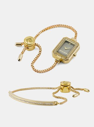 Sada dámskych hodiniek s nerezovým remienkom a náramku v zlatej farbe Pierre Cardin