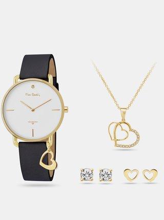Sada dámskych hodiniek s koženým remienkom a šperkov v zlatej farbe Pierre Cardin