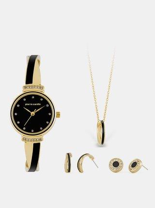 Sada dámskych hodiniek s nerezovým remienkom a šperkov v zlatej farbe Pierre Cardin