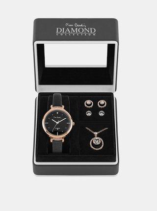 Sada dámskych hodiniek s koženým remienkom a šperkov v ružovozlatej farbe Pierre Cardin
