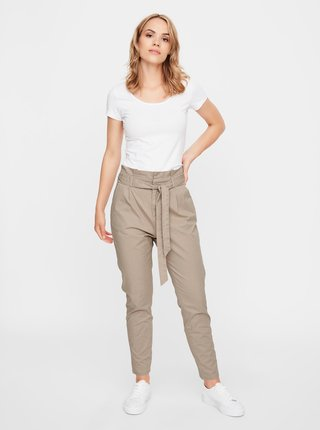 Béžové kalhoty se zavazováním VERO MODA Eva