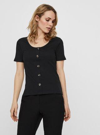 Černé tričko s knoflíky VERO MODA Helsinki