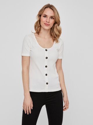 Biele tričko s gombíkmi VERO MODA Helsinki