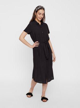 Černé košilové midišaty se zavazováním Pieces Cecilie