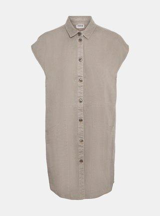 Béžové košilové šaty s kapsami Noisy May Alma