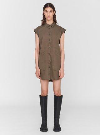 Khaki košilové šaty s kapsami Noisy May Alma