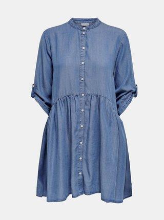 Modré košeľové voľné šaty Jacqueline de Yong Olivia