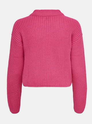 Růžový svetr se stojáčkem Jacqueline de Yong Sister
