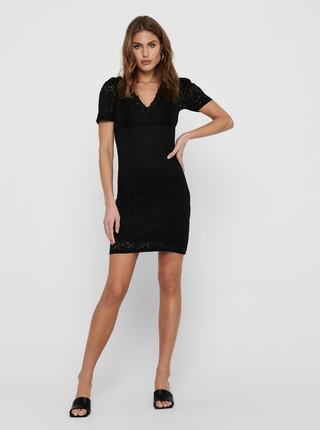 Černé pouzdrové krajkové šaty ONLY Alba