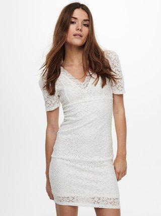 Bílé pouzdrové krajkové šaty ONLY Alba