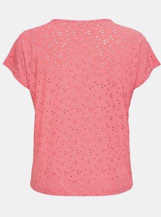 Růžové vzorované tričko ONLY CARMAKOMA Zabby