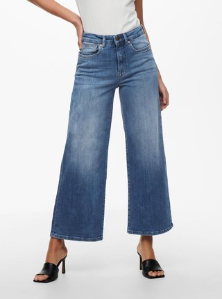 Modré zkrácené široké džíny ONLY Madison