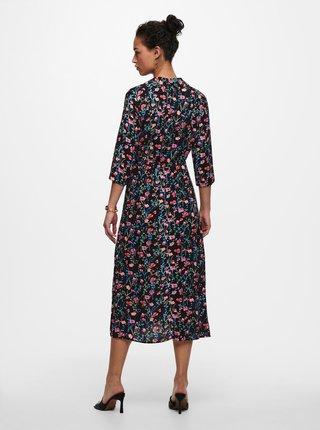 Černé květované košilové midišaty Jacqueline de Yong Staar