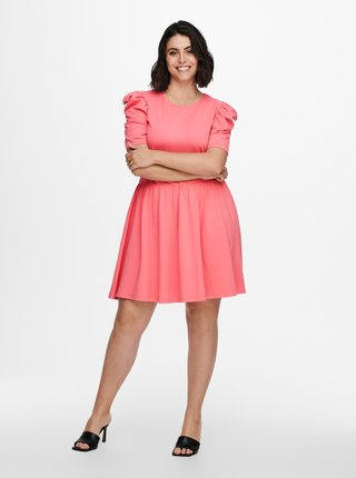 Ružové šaty s nariasenými rukávmi ONLY CARMAKOMA June