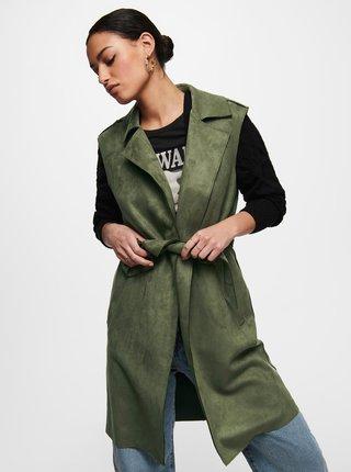 Zelená dlouhá vesta v semišové úpravě ONLY Carni