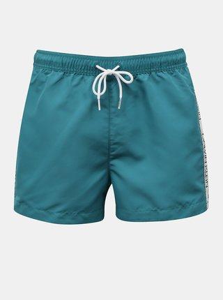 Calvin Klein zeleno-modré pánské plavky Short Drawstring