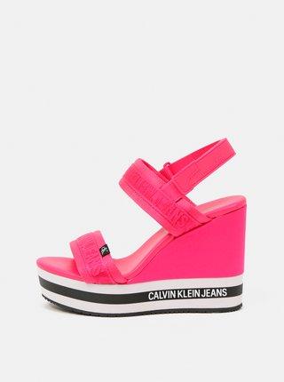Calvin Klein ružové topánky na kline Wedge Sandal Sling