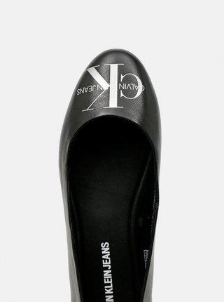 Calvin Klein čierne kožené balerínky Ballerinas Printed