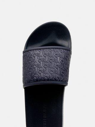 Calvin Klein modré pánské pantofle Slide Embossed