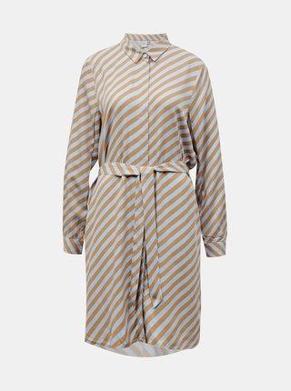 Ichi modro-hnědé košilové šaty Ihimara