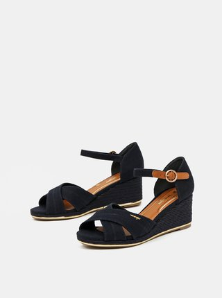 Tmavomodré sandálky na plnom podpätku Wrangler