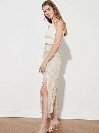 Béžová puntíkovaná midi sukně s rozparkem Trendyol