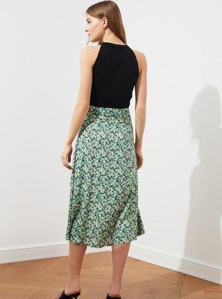 Zelená květovaná midi sukně s rozparkem Trendyol