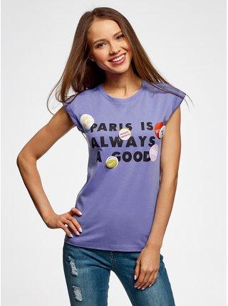 Tričko s nápisem se záložkami na rukávech OODJI