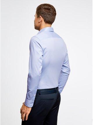 Košile klasická z materiálu s výraznou texturou OODJI