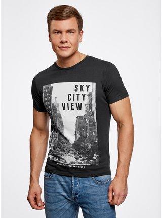 Tričko bavlnené s mestským potlačou OODJI