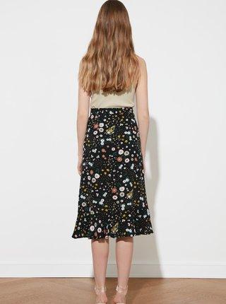 Černá květovaná sukně s volánem Trendyol