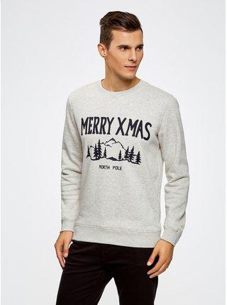 Mikina rovného střihu s výšivkou s vánočním motivem OODJI