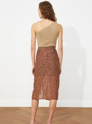 Hnědá vzorovaná sukně s řasením Trendyol