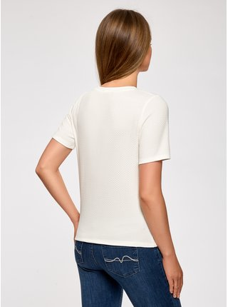 Tričko rovného střihu z materiálu s výraznou texturou OODJI