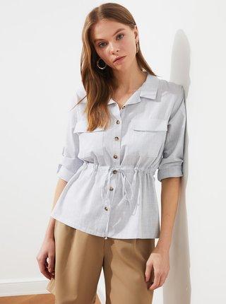 Světle šedá dámská košile se zavazováním Trendyol