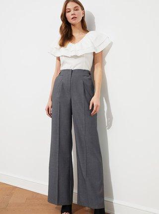 Šedé dámske vzorované široké nohavice Trendyol