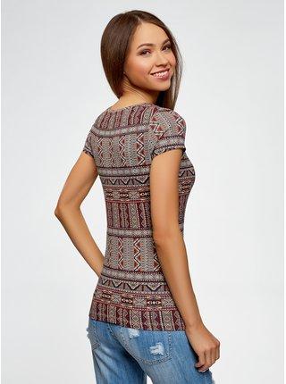 Tričko se vzorem bavlněné OODJI