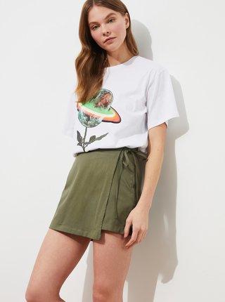 Khaki dámské kraťasy s překládáním Trendyol