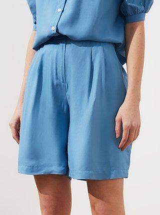 Modré dámské lněné kraťasy Trendyol