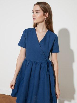 Modré šaty se zavazováním Trendyol