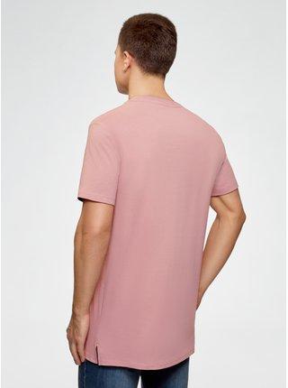 Tričko bavlnené s rozparkami na bokoch OODJI